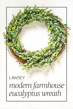 Welcome your guests with modern farmhouse style • Decorate with ease using the soft greens that suits doors and interiors of all colors • Hang this wreath as soon as it arrives with its sewn-in wrapped grapevine wire hanger • Use indoors and out, even in hot weather, with its faux florals and handwoven construction that uses no glue, meaning nothing to melt in the heat