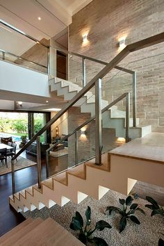 Most people dream of a big house with two or more floors. SelengkapnyaTop 10 Unique Modern Staircase Design Ideas for Your Dream House Home Stairs Design, Modern House Design, Stair Design, Home Deco, Escalier Design, Glass Stairs, Glass Railing, Modern Stairs, House Stairs