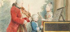Détail d'une oeuvre de Louis Carrogis montrant Mozart au piano avec son père Leopold,  Via Wikipedia, License CC