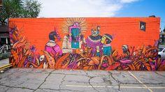 Saner paints a new mural during his art residency in Detroit   StreetArtNews