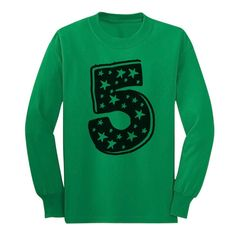 Five Years Old Birthday Gift Idea - I'm 5 Superstar Long sleeve kids T-Shirt Large Green. Great gift idea for a 5 years old boy or Girl. Birthday present. Trendy, brightly colored graphics. A unique gift idea for a friend or family member. Available in toddler- junior / youth size. Printed exclusively in the USA. Using the latest in garment printing technology - the same quality you will find in any city boutique or department store. Our designs are available on a wide range of apparel;...