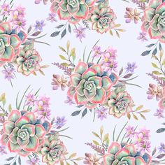 Succulent Watercolor Pattern Shower Curtain by dalleh Watercolor Pattern, Watercolor Art, Buy Succulents, Alcohol Ink Crafts, Tropical, Desert Plants, Flower Wallpaper, Wallpapers, Draw