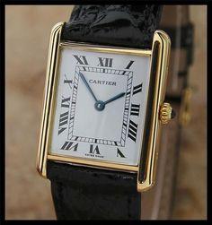 SWISS MADE 18K SOLID GOLD MUST DE CARTIER PARIS TANK WATCH, c.2008