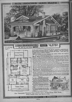 Like the look of the exterior. Bungalow Floor Plans - Sears - Modern Home No. The Bandon Craftsman Style Bungalow, Bungalow Floor Plans, Craftsman Bungalows, House Floor Plans, Bungalow Exterior, Craftsman Houses, Vintage House Plans, Modern House Plans, Vintage Homes