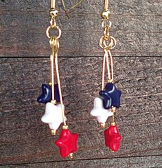 4th of July Patriotic Earrings, red white blue stars dangle goldtone  Fun festive earrings for July 4th. Show your patriotic spirit Great for 4th of
