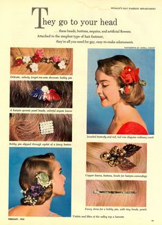 Lovely vintage DIY hair accessory ideas from the pages of Woman's Day magazine, Feb 1952. #vintage #1950s #hair