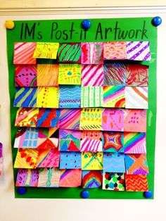 Collaborative post it art... gives me an idea for early finishers!