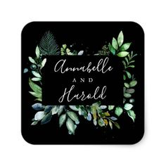Woodland Greenery Elegant Wedding Square Sticker - craft supplies diy custom design supply special