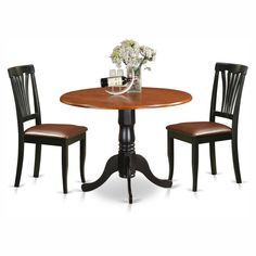 East West Furniture Dublin 3 Piece Round Dining Table Set with Faux Leather Avon Chairs - DLAV3-B