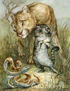 "Brown Fairy Book ""the Lion and the Cat"""