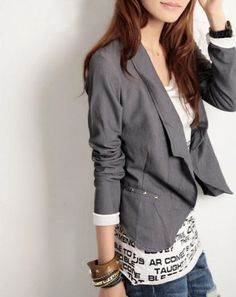 grey blazer / like the shirt with words on it
