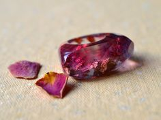 Resin ring, Ring with gold leaf, Rose-blue ring, Statement ring, Band ring