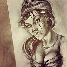 Chicano Art Tattoos, Chicano Drawings, Body Art Tattoos, Tattoo Drawings, Beautiful Fantasy Art, Beautiful Drawings, Chicanas Tattoo, Batman Drawing, Cholo Art