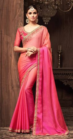 94b59a7458bc6b Sandalwood Pink Combination Saree. Chiffon SareeSilk ChiffonLace SilkChiffon  FabricSilk FabricIndian ...