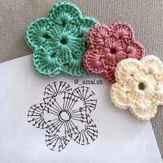 Crochet Flower Tutorial, Crochet Flower Patterns, Flower Applique, Crochet Flowers, Knitting Patterns, Crochet Designs, Quilt Patterns, Crochet Diagram, Crochet Motif