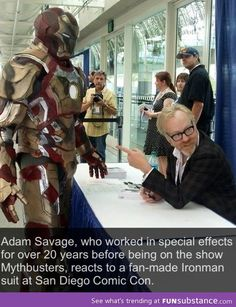 Coolest Iron Man suit.  If you can make that suit AND get that reaction from Adam Savage you are officially badass. Iron Man Suit, Marvel Cinematic Universe, Dc Universe, Iron Man Cosplay, Marvel Avengers, Marvel Dc Comics, Marvel Heroes, Awesome Cosplay, Spiderman