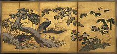 Cranes and Flowers of the Four Seasons  Period: Momoyama period (1573–1615) Date: second half of the 16th century Culture: Japan Medium: One of a pair of six-panel folding screens; ink, color, and gold on gilt paper
