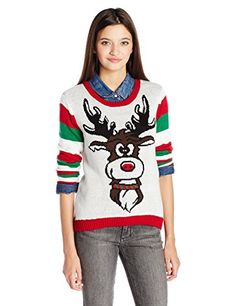 038681debfe Ugly Christmas Sweater Juniors Reigndeer Face and Butt Pullover Cerf Noël