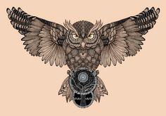 Owl by Romesh-Phoenix on DeviantArt Owl Neck Tattoo, Owl Tattoo Chest, Neck Tattoo For Guys, Chest Piece Tattoos, Leg Tattoos, Body Art Tattoos, Sleeve Tattoos, Tattoos For Guys, Mens Neck Tattoos