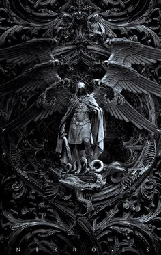 "The art of Nekro - photomanipulation - Archangel Michael kills Satan; titled, ""Three circles of hell"""