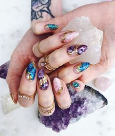 Summer Acrylic Nails, Cute Acrylic Nails, Summer Nails, Fall Nails, Stone Nails, Stone Nail Art, Hair And Nails, My Nails, Nail Art Designs