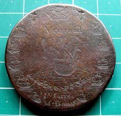 Engraved Mermaid Ships 1797 George III Cartwheel Twopence Convict Love Token