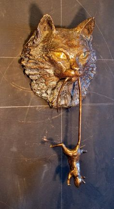 Bronze Cat and Mouse Door Knock