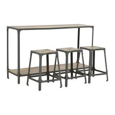 Long Hallway Console with 3 Nesting Stools