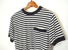 90s Striped Shirt Striped Shirt Navy White by TheBraidedBandit