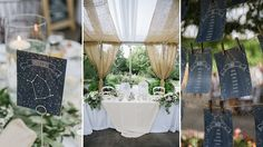 Starry Night Themed Summer Garden Wedding with Custom Table Numbers and Seating Chart