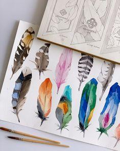 Watercolor Artwork, Watercolor And Ink, Art Sketches, Art Drawings, Feather Art, Guache, Fractal Art, Totoro, Anime Art Girl