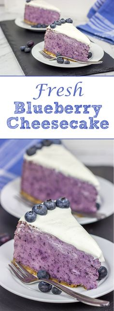 Looking for a fun summer dessert? Try this {Fresh Blueberry Cheesecake}! It's packed with fresh summer blueberries…and it's a fun dessert to serve on a warm summer evening! Blueberry Desserts, Köstliche Desserts, Summer Desserts, Delicious Desserts, Dessert Recipes, Yummy Food, Baked Blueberry Cheesecake, Food Cakes, Cupcake Cakes