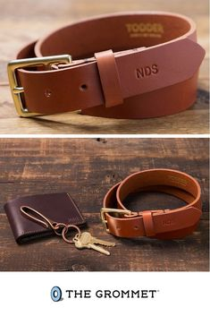 Snag a personalized monogrammed leather belt or wallet for your dad, husband, brother, and more this year. Great Gifts For Dad, Gifts For Him, Your Boyfriend, Leather Belts, Fathers Day Gifts, Brother, Dads, Monogram, Husband
