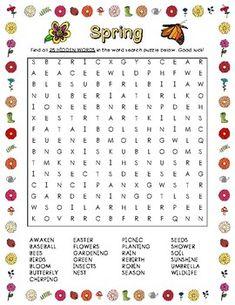 Seasons Activities, Spring Activities, Craft Activities For Kids, Book Activities, Word Search Puzzles, Word Puzzles, Spring Word Search, Alex Craft, Spring Words