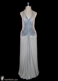 Vintage Gianni Versace sequined grey silk chiffon halter gown. Lined, hidden rear zipper. Back is open so the bust measurement is arbitrary, it