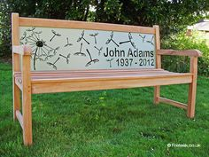 """Memorial bench """"John Adams"""". I wish these shipped to the US :("""