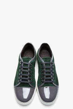 Forest green patent and suede tennis shoes (Lanvin)