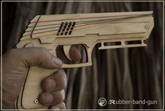 Rubber bands gun, wooden gun, pistol made in Israel