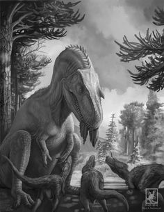 pencil paleoillustration - Gorgosaurus Mother by daitengu on deviantART (RAR Raul A. Ramos)