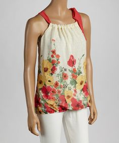 Another great find on #zulily! Clementine Floral Tie-Yoke Top #zulilyfinds