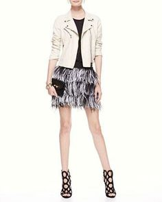 Haute Hippie Cropped Leather Motorcycle Jacket, Beaded Silk Blouse & Tiered Ostrich-Feather Miniskirt - Neiman Marcus