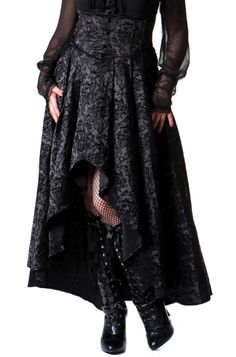 Living Dead Souls - Long Black Flocked Brocade Waterfall Skirt [SK-A3048] - £44.99 : Gothic Clothing, Gothic Boots & Gothic Jewellery. New Rock Boots, goth clothing & goth jewellery. Goth boots and alternative clothing
