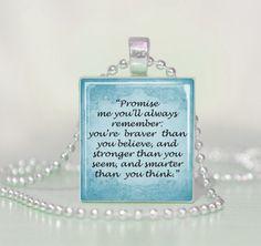 Winne the Pooh Quote Promise Me... Scrabble Tile Pendant Necklace. $5.00, via Etsy.