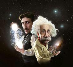 P1938 Art Einstein Nikola Tesla Faraday chemistry physics infographics Poster