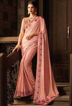 Blush Pink Silk Saree