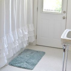 Basic White Ruffle Shower Curtain