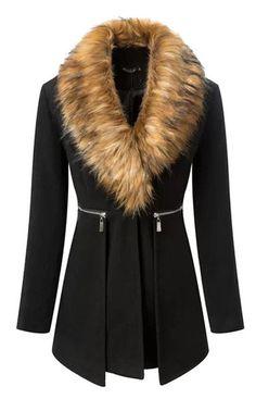 Black Casual Coat With Fur Collar