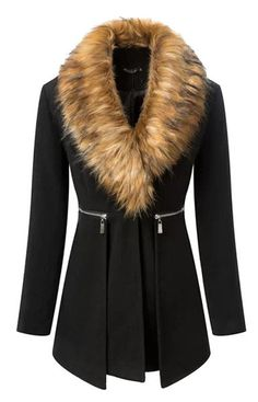 Black Casual Coat With Fur Collar