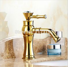 Luxury Gold Plated Bathroom Faucet Single Handle Decorated With Diamond Basin Sink Mixer Tap G-027 #Affiliate