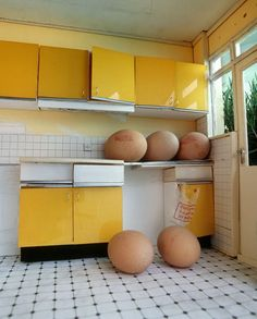 Believe it or not, artist Petros Chrisostomou works on a small scale. Looking at photo of his installations, you'd think he recreated everyday objects in Photocollage, Arte Popular, Mellow Yellow, Yellow Cream, Community Art, Installation Art, Art Images, Food Art, Illusions